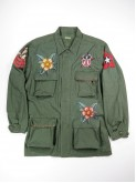 BDU green shirt jacket with old school tattoos