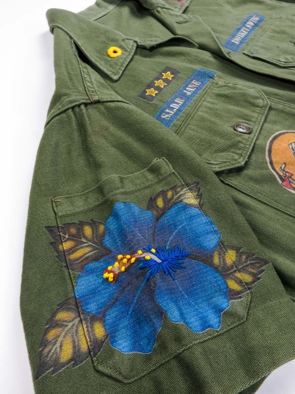 American military shirt with hibiscus