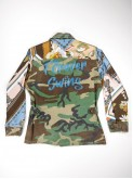 BDU camouflage shirt jacket with foulard sleeves