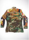 BDU camouflage shirt jacket with foulard sleeves