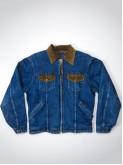 Walls dark blue denim jacket with velvet collar