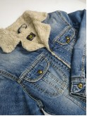 Lee washed blue long denim jacket with sherpa