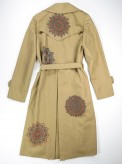 Beige trench coat with mandala flowers