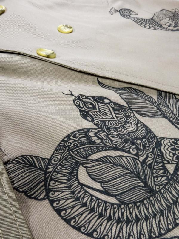Sand trench coat with mandala animals