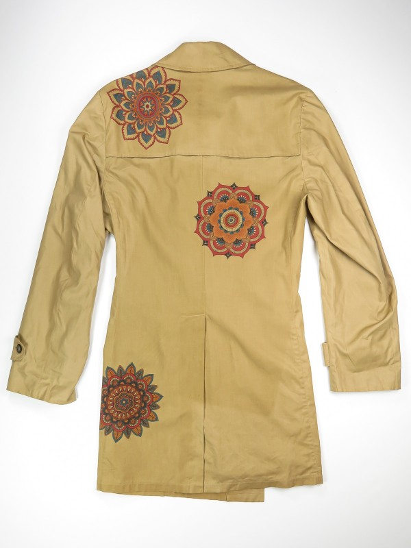 Cream trench coat with mandala flowers