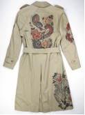 Sand trench coat with japanese tattoos