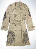Beige trench coat with mandala animals