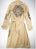 Cream trench coat with mandala animals