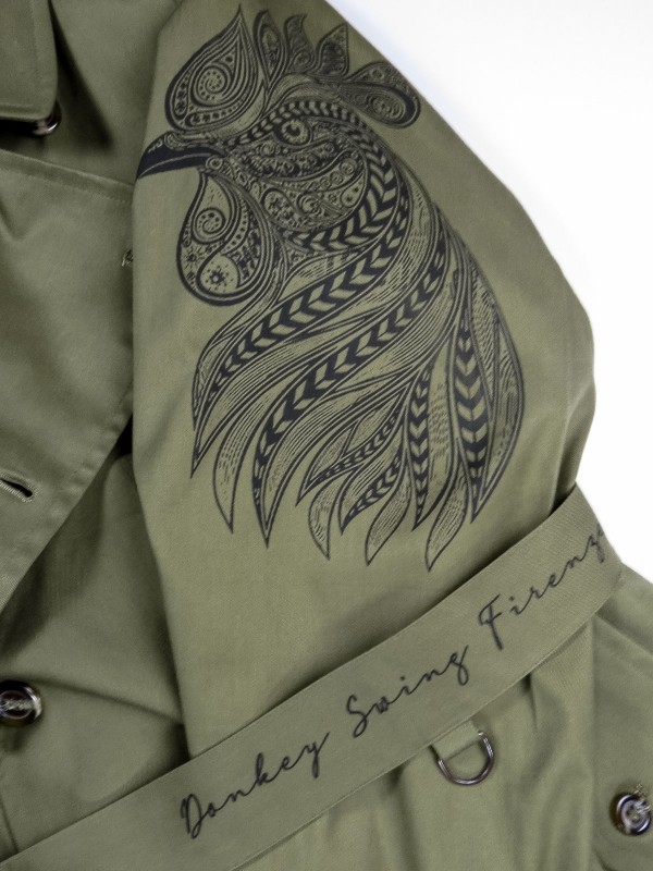 Green trench coat with mandala animals