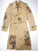 Peach trench coat with japanese tattoos