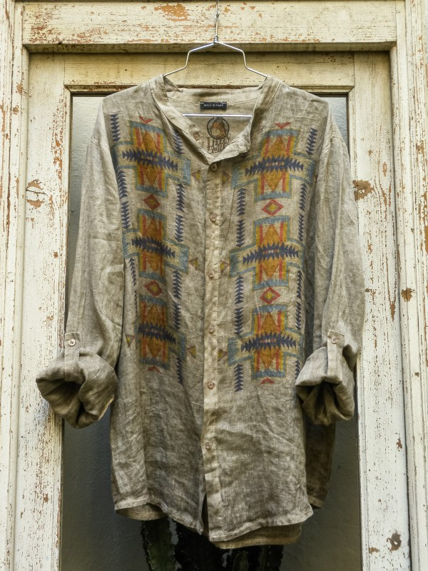 Linen Shirt with Navajo Design