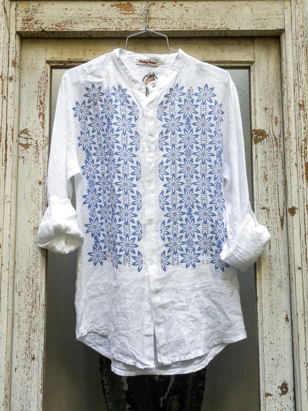 Linen Shirt with Blue Flowers