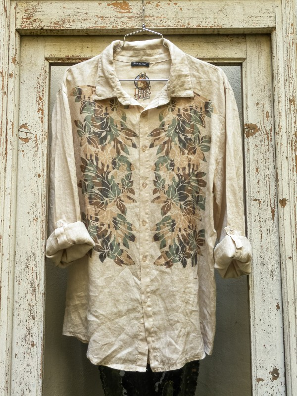 Linen Shirt with Camouflage Flowers