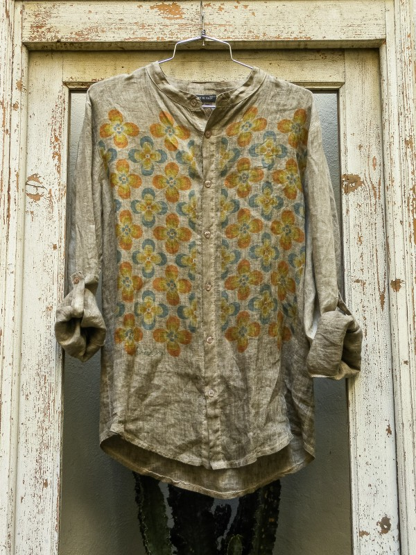 Linen Shirt with Retro Flowers