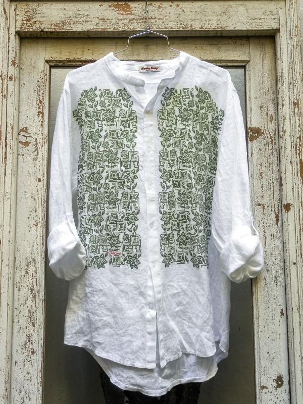 Linen Shirt with Green Flowers