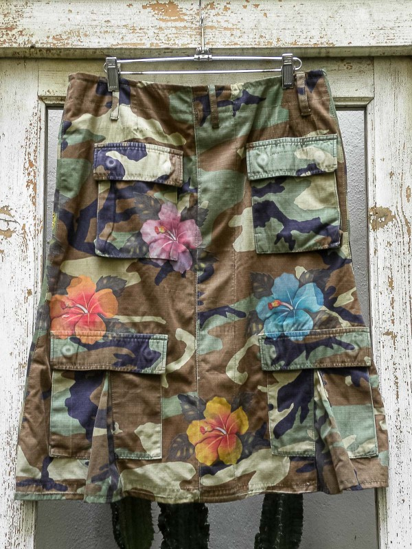 BDU Camouflage Skirt with Hibiscus Flowers