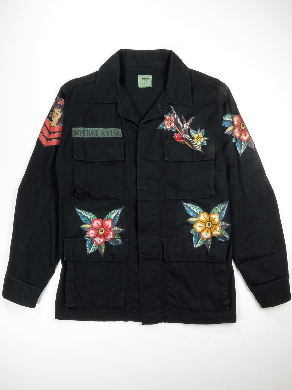 Black BDU shirt jacket with old school tattoos