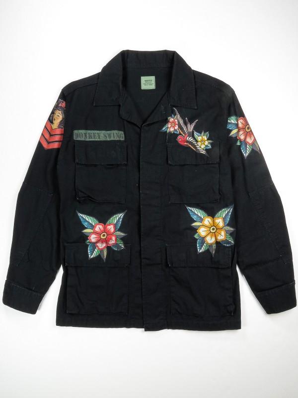 Black BDU shirt jacket with old school tattoos