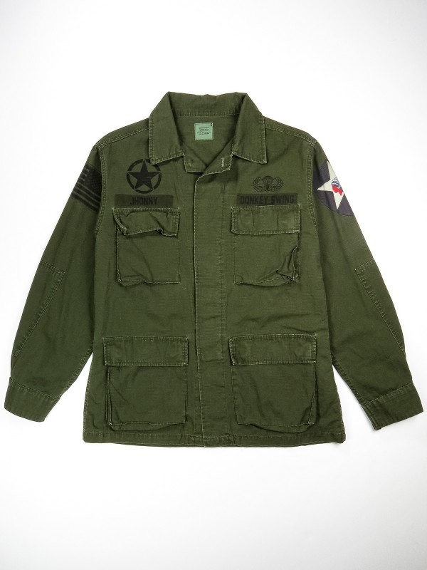 Dark green BDU shirt jacket with patch-effect