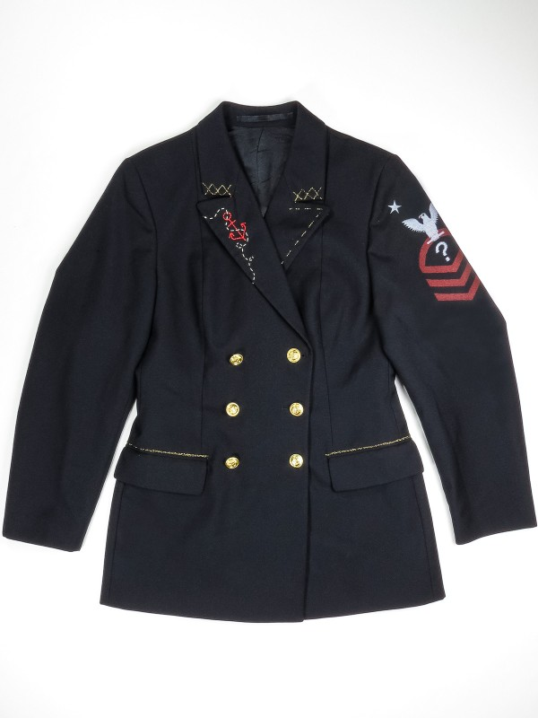 Double-breasted navy blue jacket